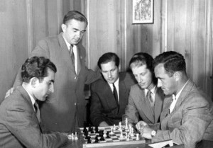 1953 Candidates tournament photo. From l-r: Tigran Petrosian, Alexander Kotov, Paul Keres, Yuri Averbakh, Efim Geller