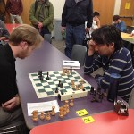 GM Bryan Smith (left) and FM Ben Dean-Kawamura playing in the Final round of the 2016 Marchand.